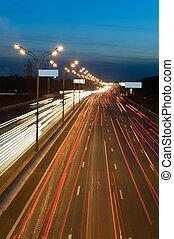 automobile, autostrada, luci