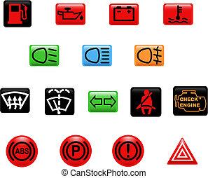 automobile, avvertimento, luci