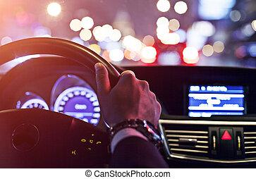 automobile, azionamento uomo, notte