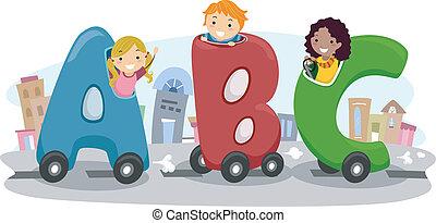 automobile, bambini, abc, sentiero per cavalcate