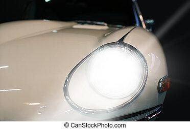 automobile, bianco, faro, primo piano