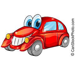 automobile, bianco, felice, isolato, cartone animato