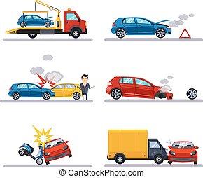 automobile, bianco, incidenti, set