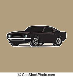 automobile, bianco, isolato, cartone animato, fondo.