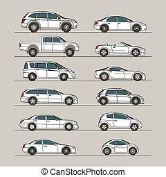 automobile, bianco, set, icona