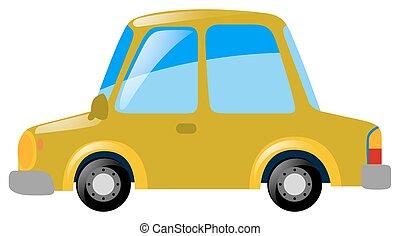 automobile, bianco, sfondo giallo
