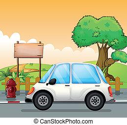 automobile, bianco, strada, asse, vuoto