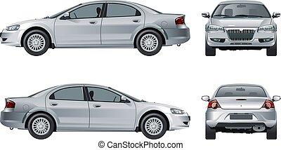 automobile, bianco, vettore, isolato, mockup