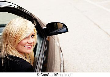 automobile, biondo, carino, passeggero