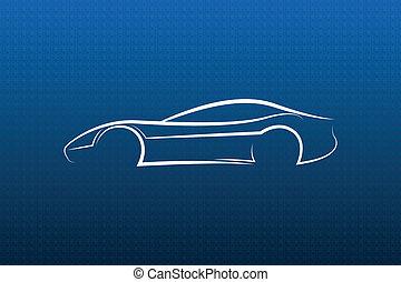 automobile blu, bianco, struttura, logotipo