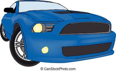 automobile blu, grafico, vettore