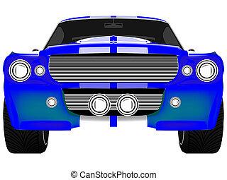 automobile blu, isolato, fronte, bianco, sport