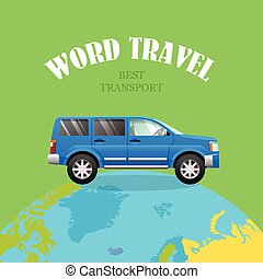 automobile blu, viaggiare, planet., fondo., verde, mondo