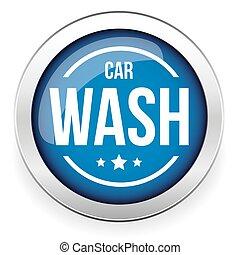 automobile, bottone, vettore, lavare, icona
