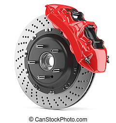 Automobile brake disk and red caliper - Automobile braking...