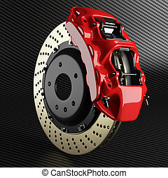 Automobile brake disk and red caliper on carbon background -...