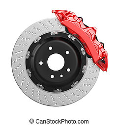 Automobile brake disk with red caliper - Automobile braking...