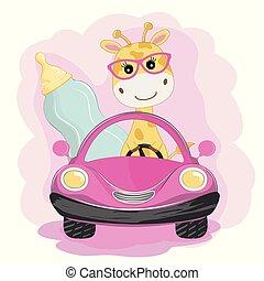 automobile buffa, giraffe bambino, bottiglia, andare, latte