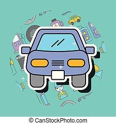automobile, bussola, cartone animato, vista frontale, servizio, riparazione