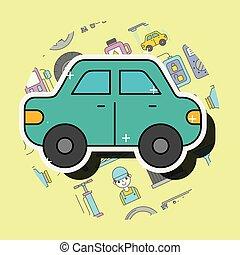automobile, bussola, cartone animato, vista laterale, servizio, riparazione