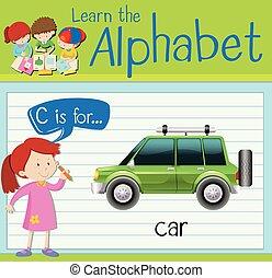 automobile, c, lettera, flashcard