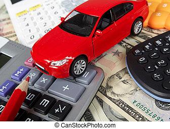 automobile, calculator., soldi