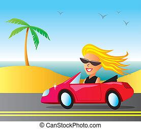 automobile, caldo, ragazza, rosso