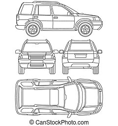 automobile, camion, suv, 4x4, linea, disegnare, affitto, danno, condizione, relazione, forma, cianografia, tutto, vista, quattro, vista