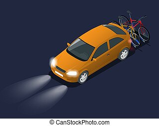 Automobile car headlights in darkness. Isometric bikes loaded on the back of a ban. Car and Bicycles.