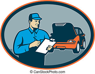 Automobile car repair mechanic with clipboard set inside an oval.