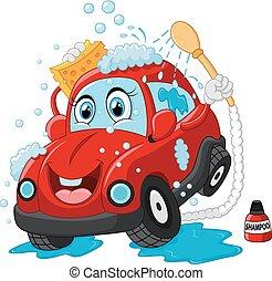 automobile, carattere, cartone animato, lavare