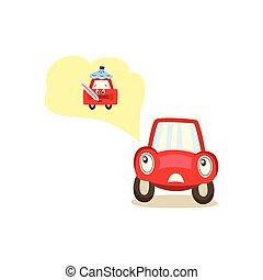 automobile, carattere, emozioni, vettore, cartone animato, worryed