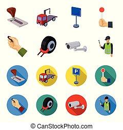 automobile, cartone animato, allarme, stile, simbolo, orlo, assistant., set, vettore, zona, macchina fotografica, appartamento, ruota, casato, web., icone, sicurezza, parcheggio, illustrazione, collezione