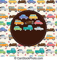 automobile, cartone animato, scheda, retro
