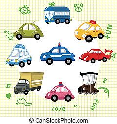 automobile, cartone animato, scheda