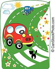 automobile, cartone animato, vettore, rosso