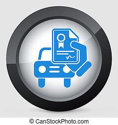 automobile, certificato, icona