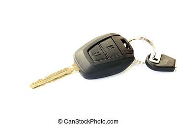 Automobile, chiavi, isolato, oggetti, fondo, bianco