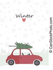 automobile, cima, albero, illustrazione, retro, rosso