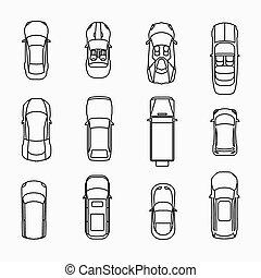 automobile, cima, icone, vista