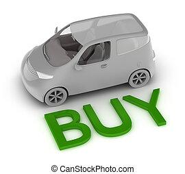 automobile, comprare, concetto, isolato, 3d