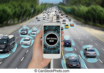 Automobile concept that connects with smart phone and autonomously drives the road.