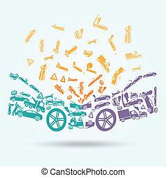 automobile, concetto, abbattersi, icone