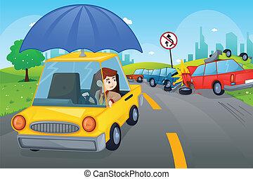 automobile, concetto, assicurazione