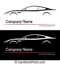 automobile, concetto, silhouette