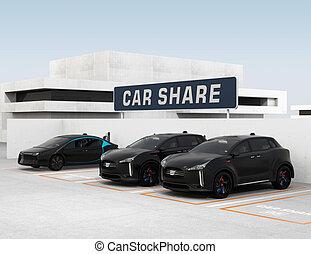 automobile, condivisione, concetto
