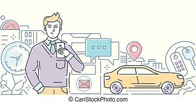 automobile, condivisione, -, moderno, linea, disegno, stile, illustrazione