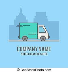 automobile, consegna, su, silhouette, città, fondo., linea fissa, disegnato, illustrazione