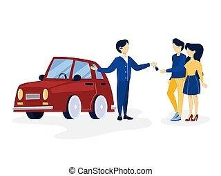 automobile, coppia, giovane, acquisto, rosso