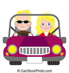 automobile, coppia, sorridere felice